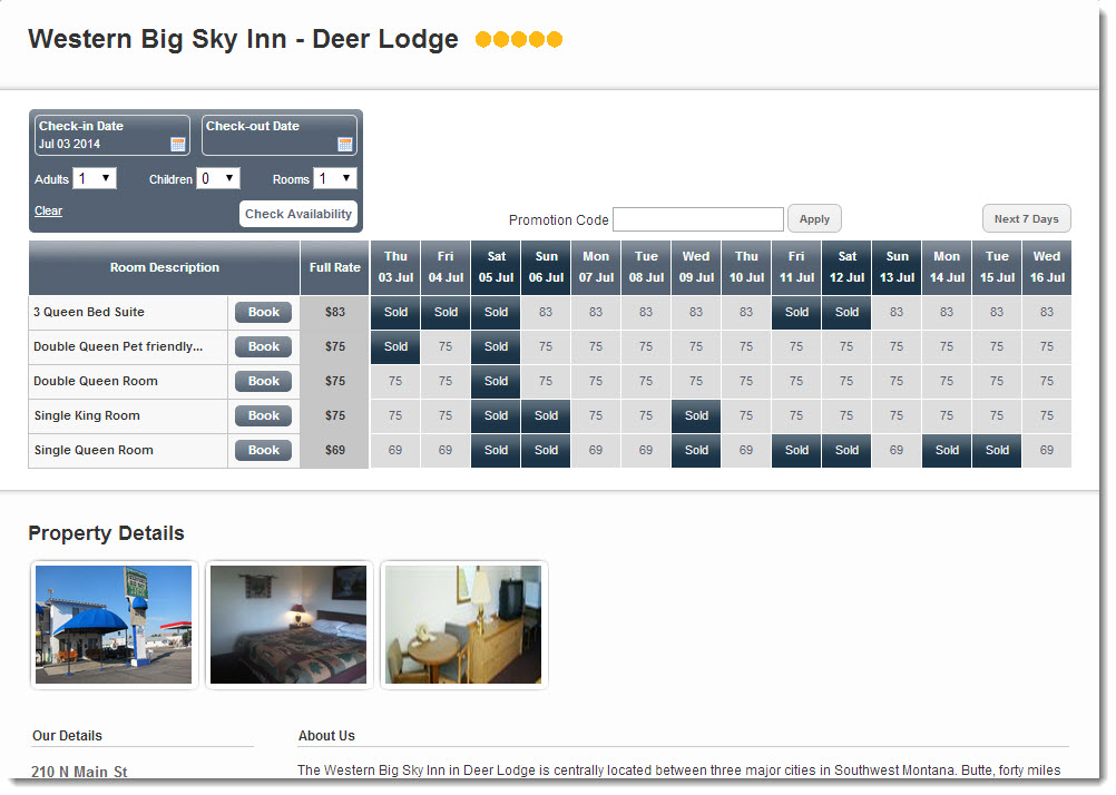 Western Big Sky Inn Booking Page